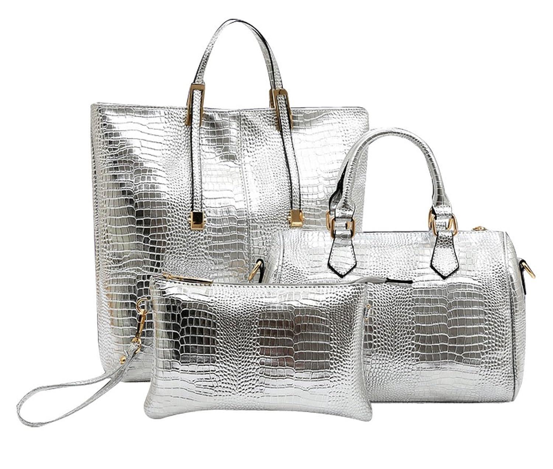Coofit Crocodile Pattern Handbag PU Tote Shoulder Bag Wallet Purse Set