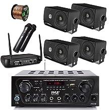 Pyle Wireless Bluetooth Stereo Receiver Amplifier, Dual Channel VHF Wireless Microphone System, 4x Pyle 3.5'' 200 Watt 3-Way Weather Proof Box Speakers - Black, 50Ft Speaker Wire - PA , Karaoke , DJ