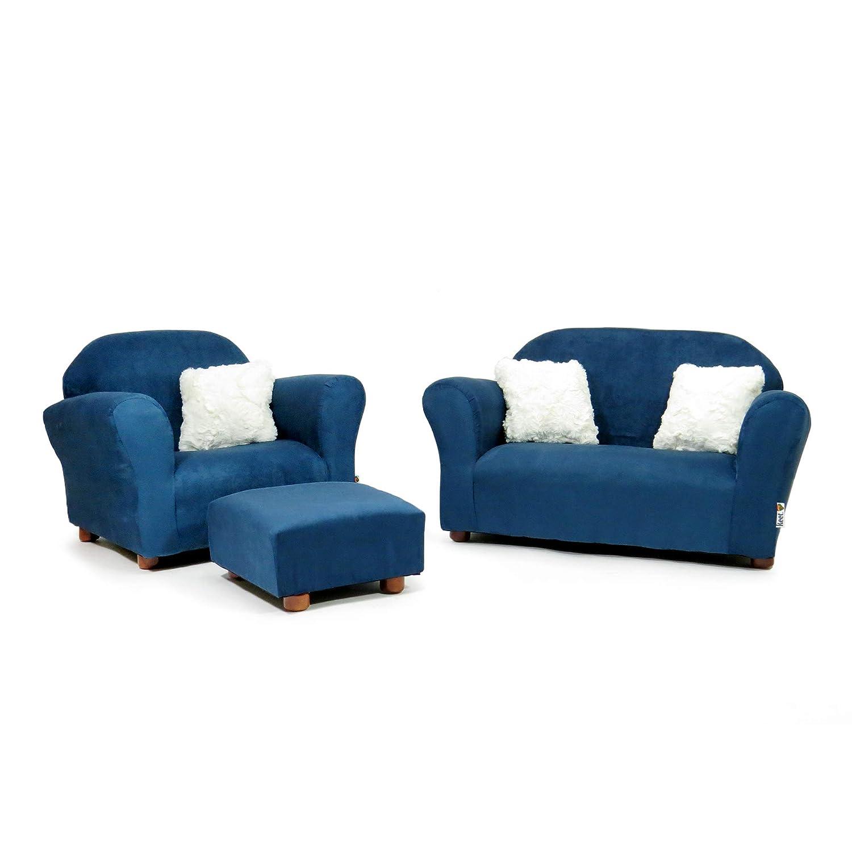 Keet Plush Childrens Set, Sofa, Chair and Ottoman, Navy