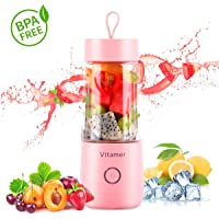 Portable Blender Vitamer Personal Fruit Mixer six Blades with USB Rechargeable for for Smoothies, Milkshake, Fruit Vegetables Drinks 15 oz 350ml (Pink)