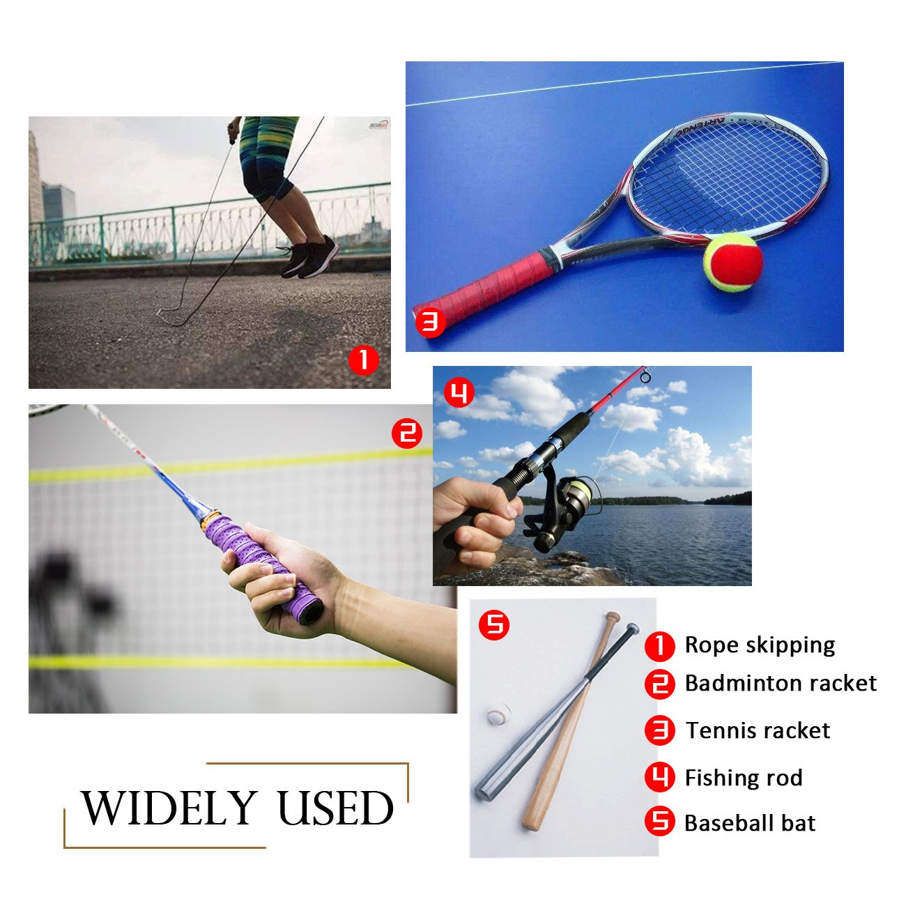 Windwalker Racket Overgrip Racquet Squash Handle Grip Tape Absorb Sweat Anti-slip for Roll Tennis Badminton Sports