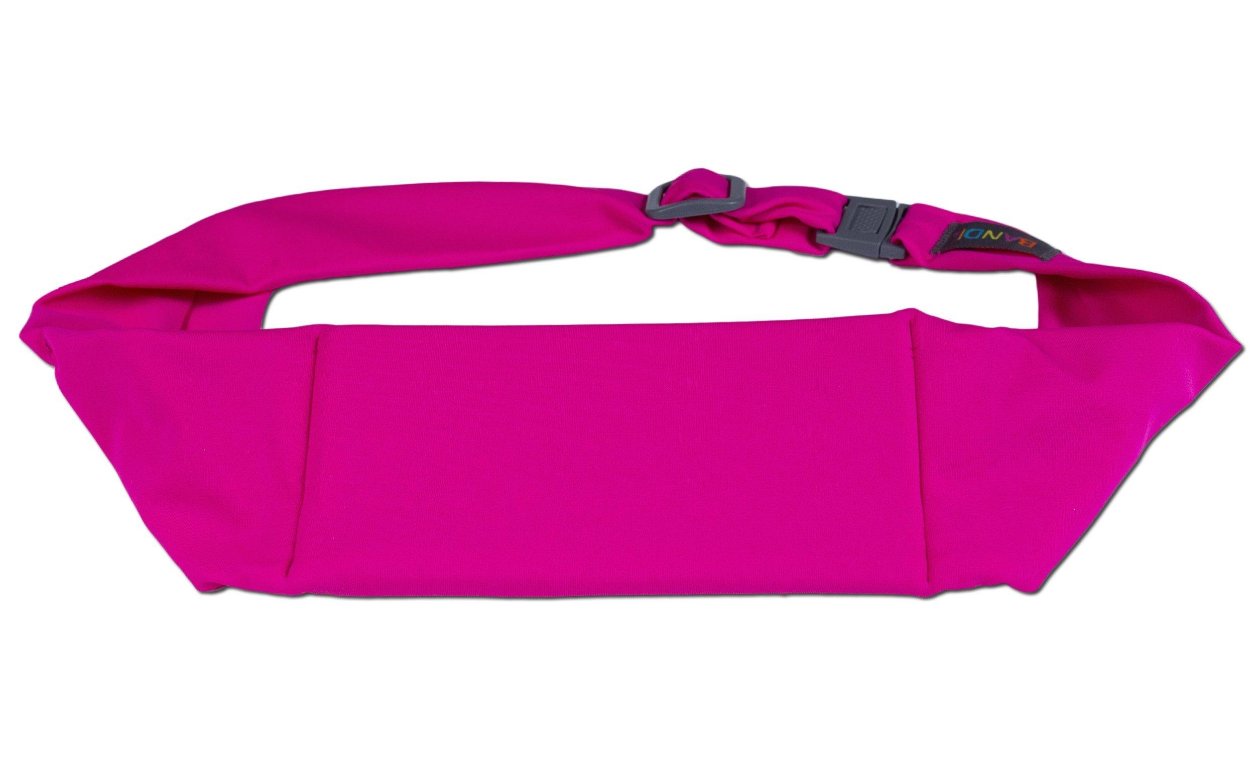 BANDI Unisex Secure Running Belt with Adjustable Straps and Large Pocket (Fuchsia)