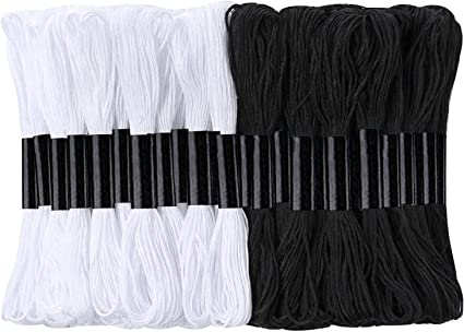 Pllieay 24 Skeins Black and White Embroidery Cross Stitch Threads Cotton Embroidery Floss Friendship Bracelets Floss with 12 Pieces Floss Bobbins for Knitting Cross Stitch Project