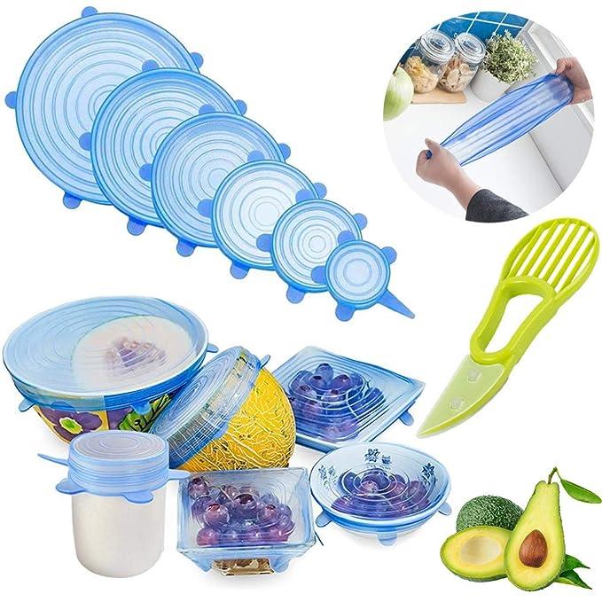 GESCHOK Tapas elásticas de Silicona, Paquete de 6 tamaños de Cubierta de Ahorro de Alimentos Flexible, Reutilizable y Duradero, Cubierta de Mantenimiento ...