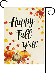 Besslly Fall Garden Flag Yard Flag Maple Leaves Pumpkin Decor 12.5x18 Inches Double Sided Fall Flag House Autumn Harvest Thanksgiving Flag Fall Decor for Home Outdoor Fall Decorations Gifts