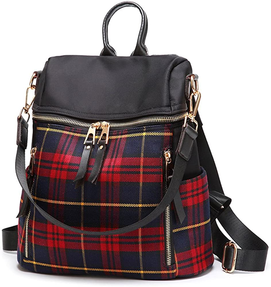 Mn&Sue Dual Use Tartan Backpack Purse for Women Schoolbag Travel Daypack Rucksack