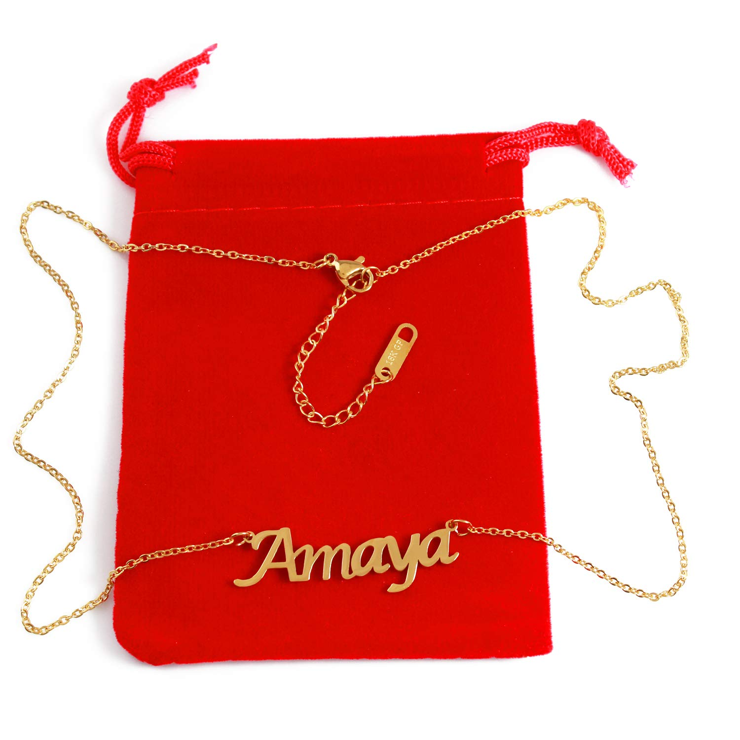 18ct Gold Plated Zacria Amaya Custom Name Necklace Personalized