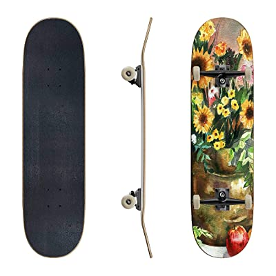 EFTOWEL Skateboards Beautiful Spring Watercolor Still Life with Flowers and Fruits Classic Concave Skateboard Cool Stuff Teen Gifts Longboard Extreme Sports for Beginners and Professionals : Sports & Outdoors