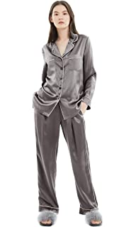 50acf77a4e LILYSILK Ladies Gold Piping Silk Pyjamas Set Comfy Two Piece Set Long Sleeve  19 Momme Pure