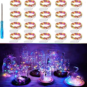 Chinety Colorful LED Fairy Light String 20 Pack Micro 20 LED Battery Operated Silver Wire Lights Mini Waterproof Twinkle Star Starry Lights Mason Jar Lights for Party Wedding Bedroom Decor(Multicolor)