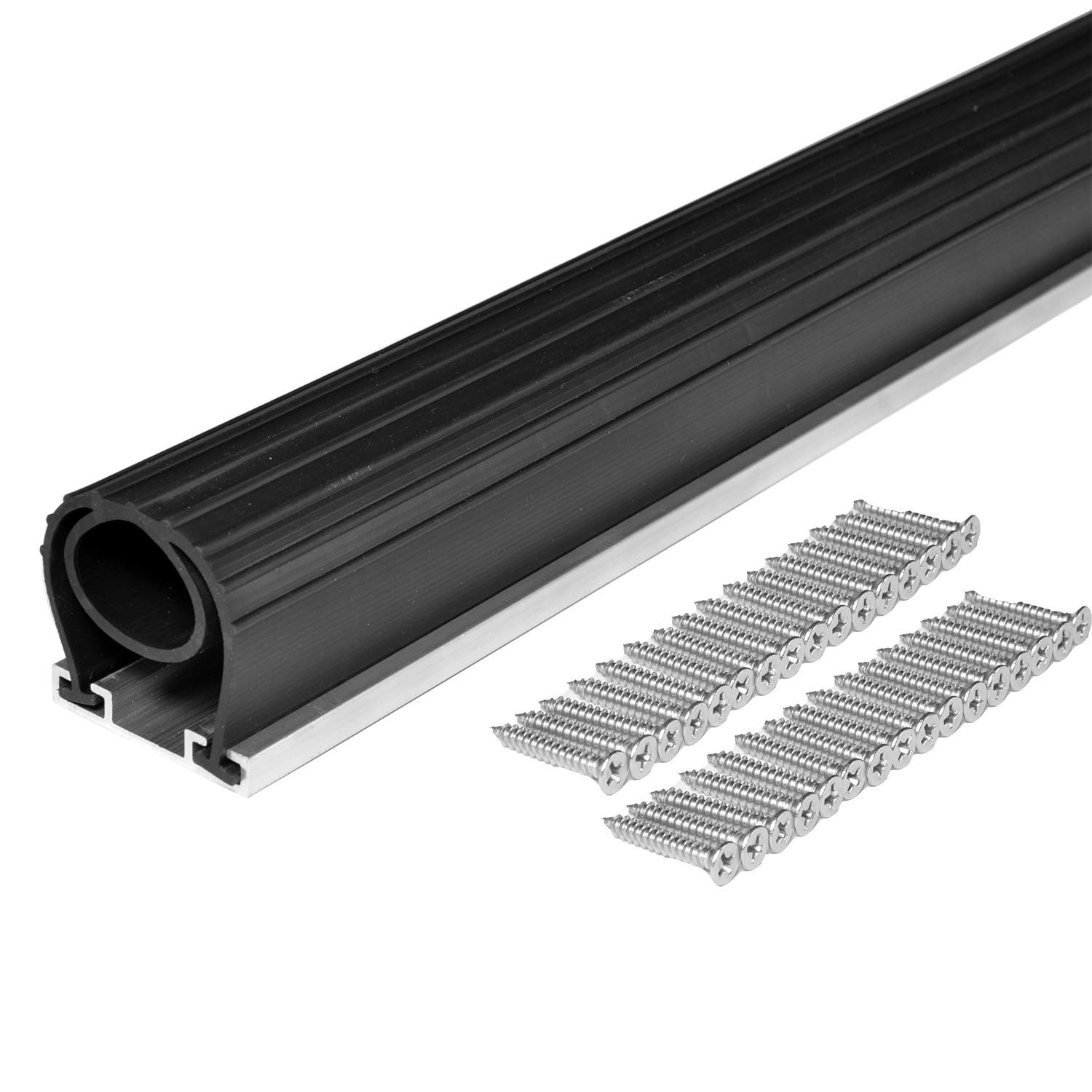 BOWSEN 20FT Heavy-Duty U+O Ring Universal Garage Door Bottom Seals Rubber Weatherstrip with Aluminum Track Retainer Kit by BOWSEN