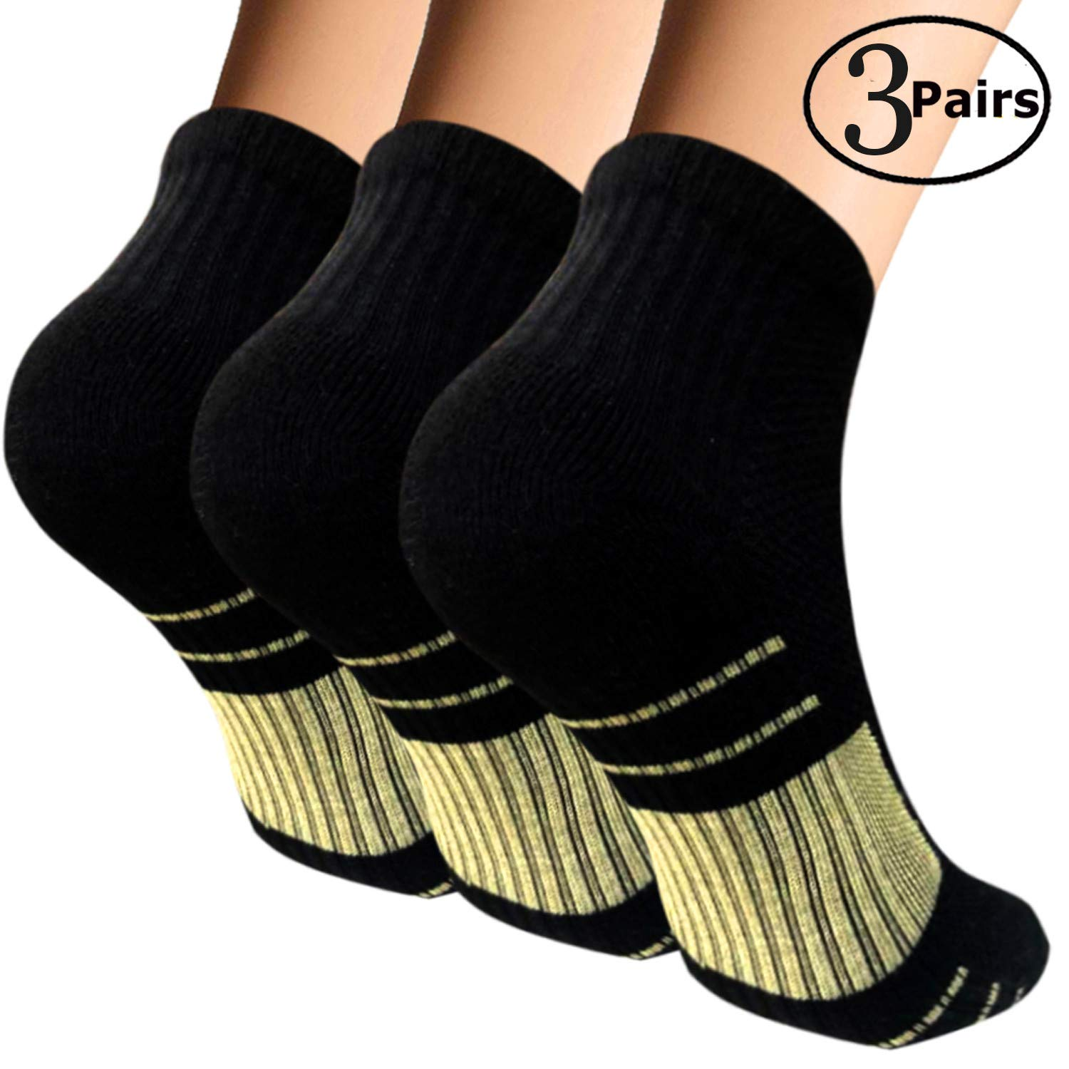 Copper Cushion Running Athletic Socks For Women Men - Antibacterial Cotton Crew Ankle Socks (3 Pairs Black, S/M)