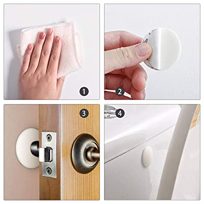 1.57 Inch Door Bumper 10 PCS Doorknobs. Refrigerator Door Stopper Wall Silicone Wall Protector Round White Door Stopper with Self Adhesive 3M Sticker Protecting Wall Door Knob Guard Cabinets