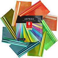 ARTEZA Holographic Self Adhesive Vinyl, 12X12 Inch, Set of 8, Blue & Green Opal Craft Sheets, Easy to Cut & Weed, for…