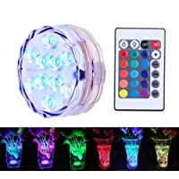 Underwater Decorative Lights, RGB Colorful Waterproof LED Lights Candle Lights with 10 LED and Remote Controller for Swimming Pool, Aquarium, Pond, Wedding, Party, Festival Decorative Lights(1 Pcs)