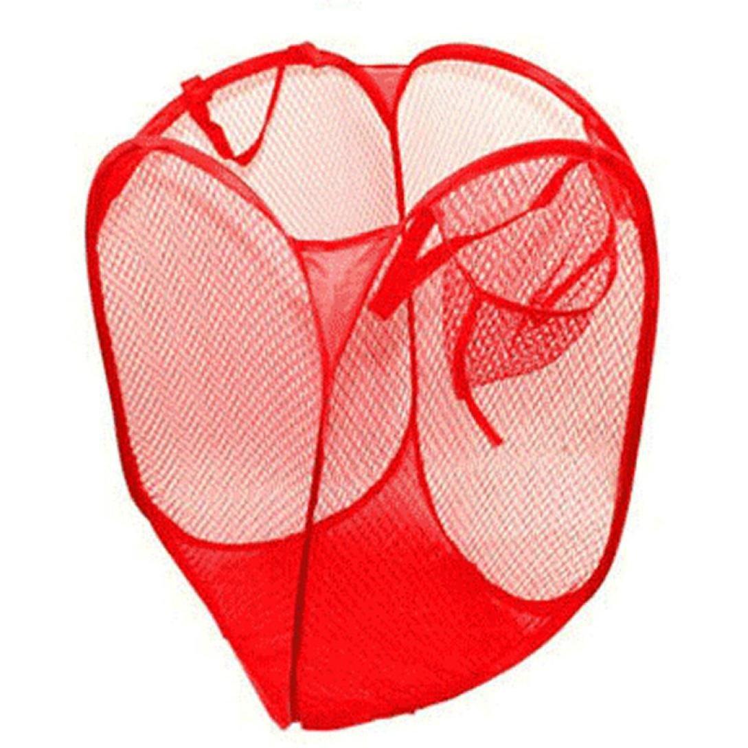 Yuutimko Foldable Washing Laundry Bag Bin Basket Bathroom Pop Up Hamper Mesh Toy Tidy Storage Organizer (Light Blue, 50.5*32*26.5cm)