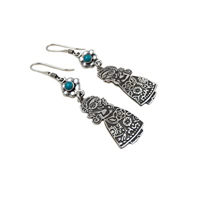 8369e3c2bd90 Frida Kahlo 925 Sterling Taxco Silver Drop Earrings  Amazon.co.uk  Jewellery