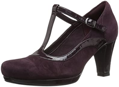 Clarks Women's Chorus Pitch Dress Pump, Aubergine Leather Combi, ...
