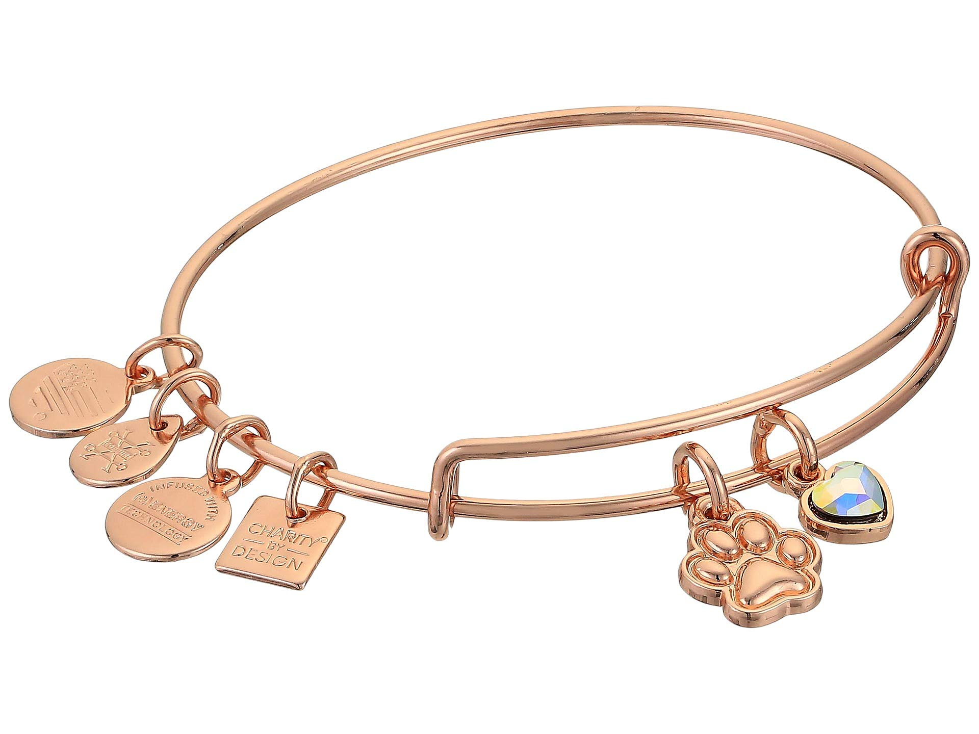 Alex and Ani Women's Charity by Design, Paw Print Duo Charm Bracelet, Shiny Rose Gold