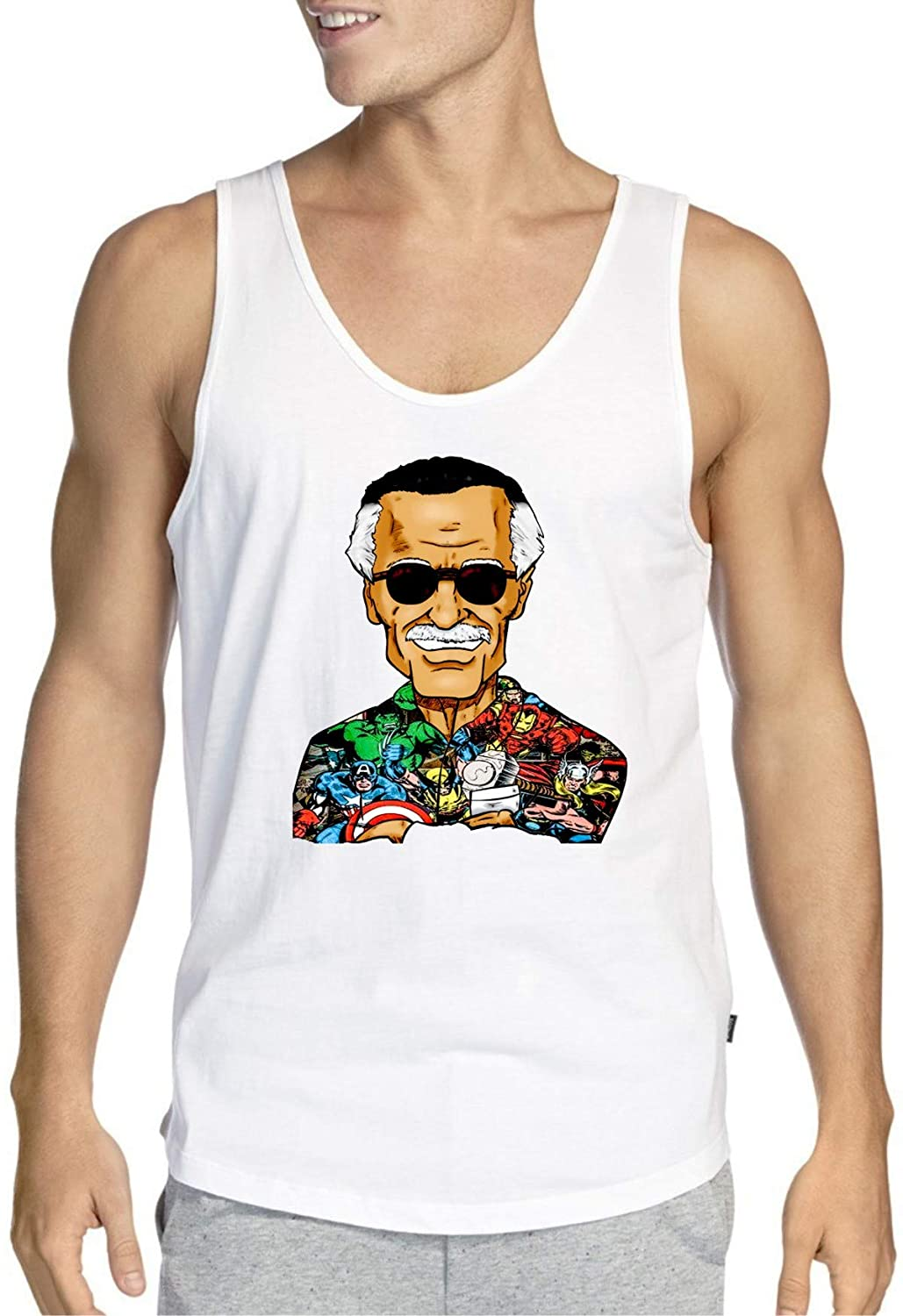 RIP Stan Lee Marvel Characters Suit White Tank Top