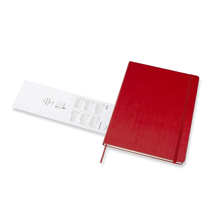 Moleskine - Agenda Semanal de 12 Meses 2020, Tapa Dura y Goma Elástica, Tamaño Extra Grande 19 x 25 cm, 144 Páginas, Rojo Escarlata