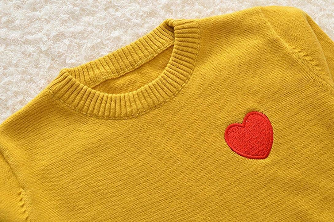 TONKOW Toddler Baby Kids Girl Boy Warm Cotton Knitted Heart Print Sewing Sweater Jumper Cardigan Casual Softstyle Comfy Tops Outfits Clothes for Unisex Baby Kids Age 1~5Y 80,Beige
