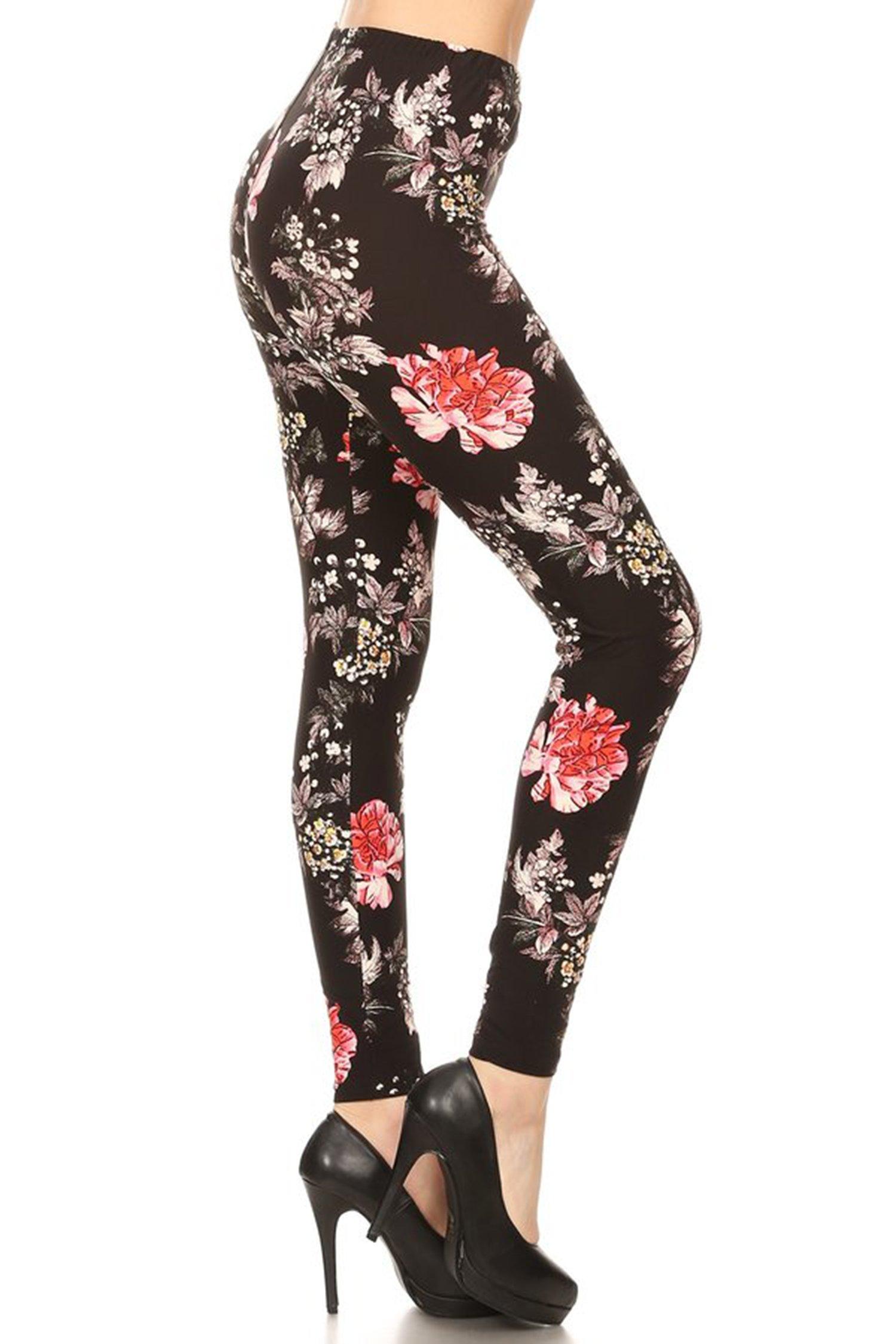 Leggings Mania Women's Plus Floral Print High Waist Leggings Black Multi, Plus One Size Fits Most (12-22), Floral by Leggings Mania (Image #2)