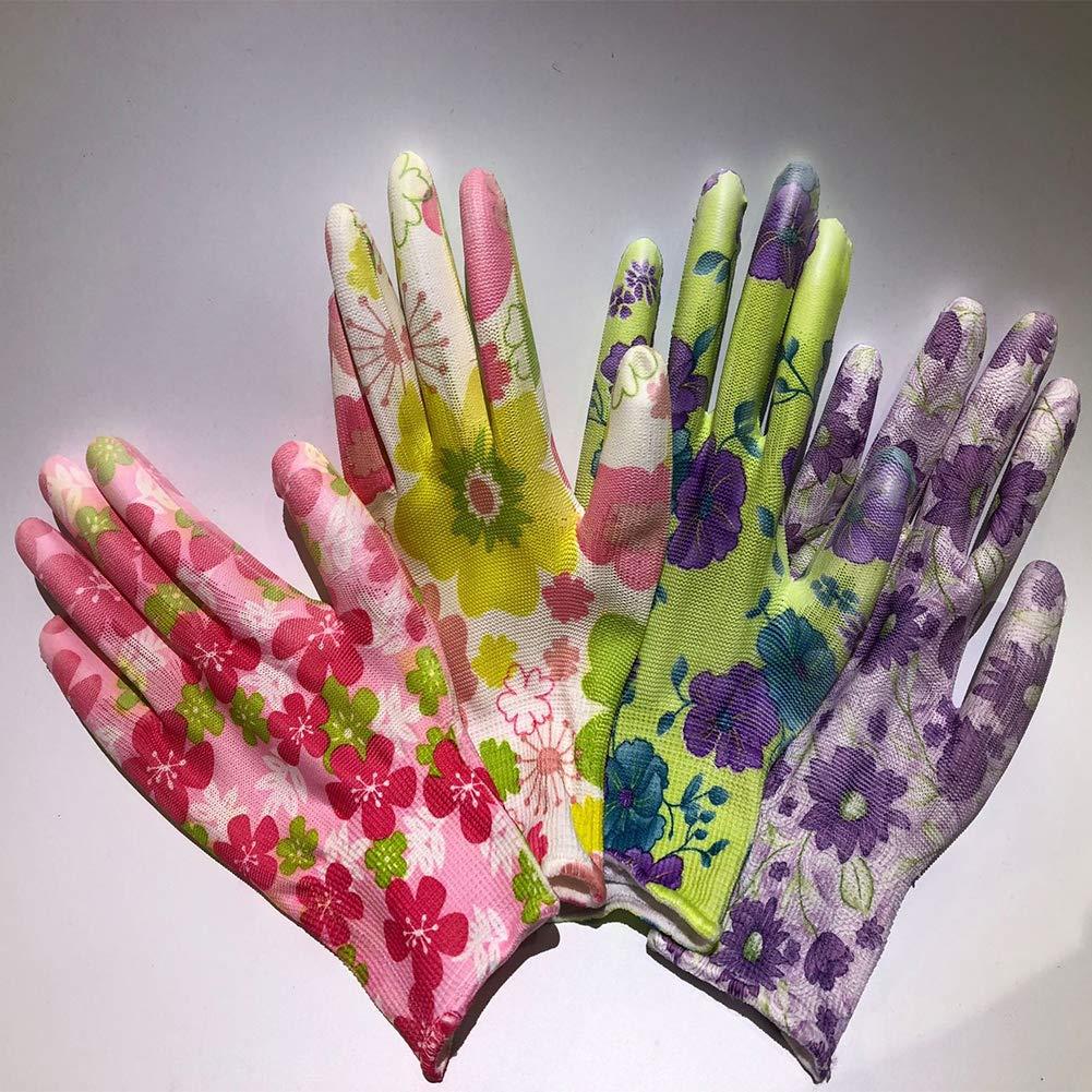 SYN Gants de Travail pour Femme Floral Durable Antistatique Jardinage Imperm/éable PU Mains Protection Antid/érapant R/ésistant /à lusure Taille S Voir Image