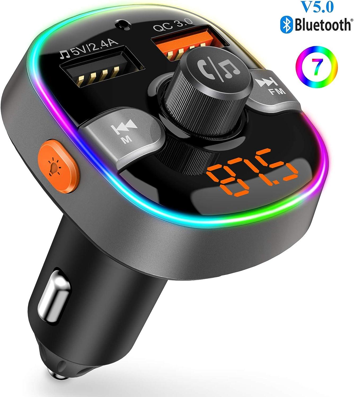 Nuevo Versión Transmisor FM Manos Libres Bluetooth Coche con 2 USB 5V 2.4A&QC 3.0 Carga Rápida Cargador Coche, 7 Colores Reproductor MP3 Coche Soporte USB Flash Drive &Tarjeta TF 64G, SIRI/Goo