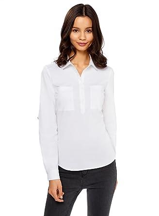 oodji Ultra Mujer Camisa Básica de Algodón, Blanco, ES 44 / XL ...