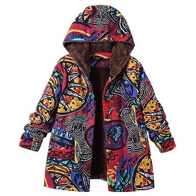 f486151d1473b Womens Winter Warm Outwear Floral Print Hooded Pockets Vintage Oversize  Coats