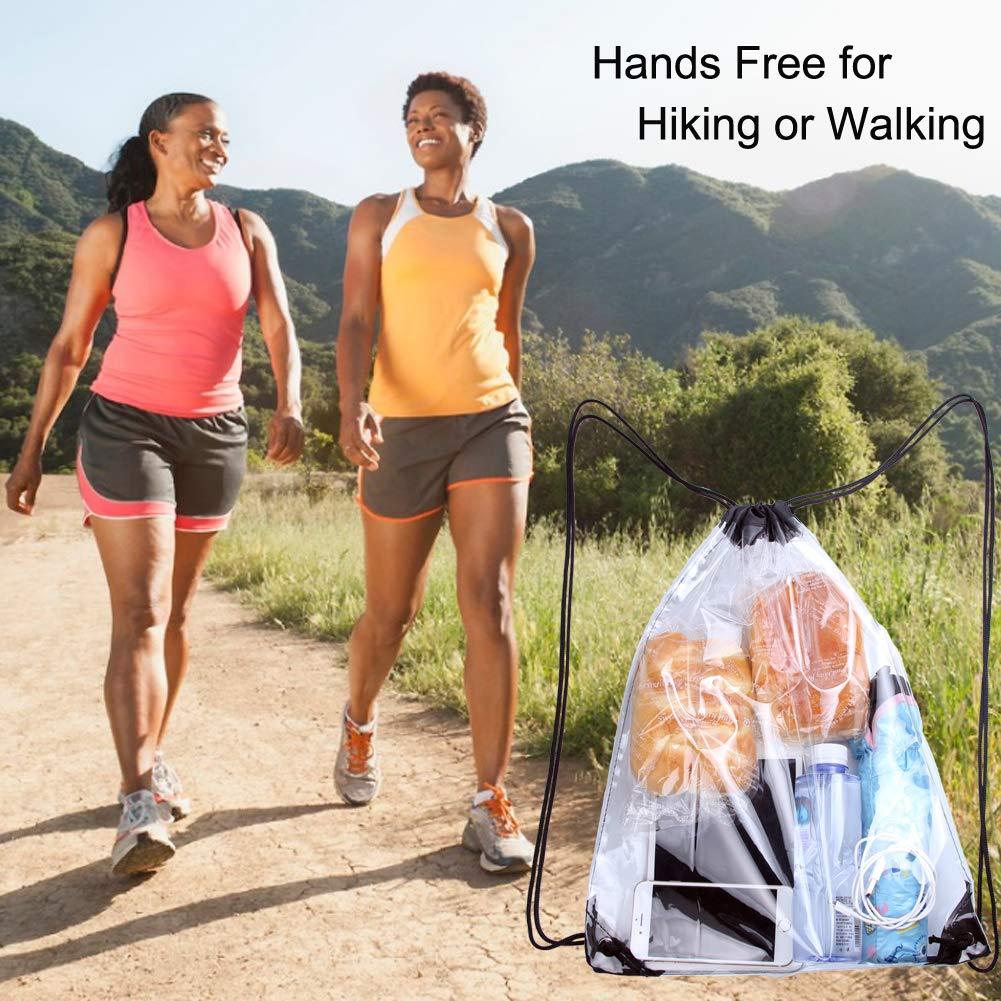 Clear Drawstring Bag Cinch String Pack Backpack Rucksack Shoulder Sack