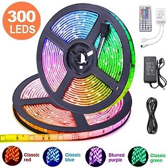 LED Streifen 10m, kdorrku Flexibel RGB selbstklebende Dimmable LED Stripes LED Lichtband SMD 5050 12V 32.8ft LED Bänder mit 4