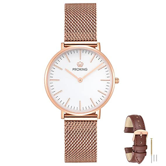 Amazon.com: Womens Watch,PROKING Ladies 6mm Ultra Thin Fashion Rose Gold Stainless Steel Watch Waterproof Sapphire Crystal Couple Watches with Free Genuine ...