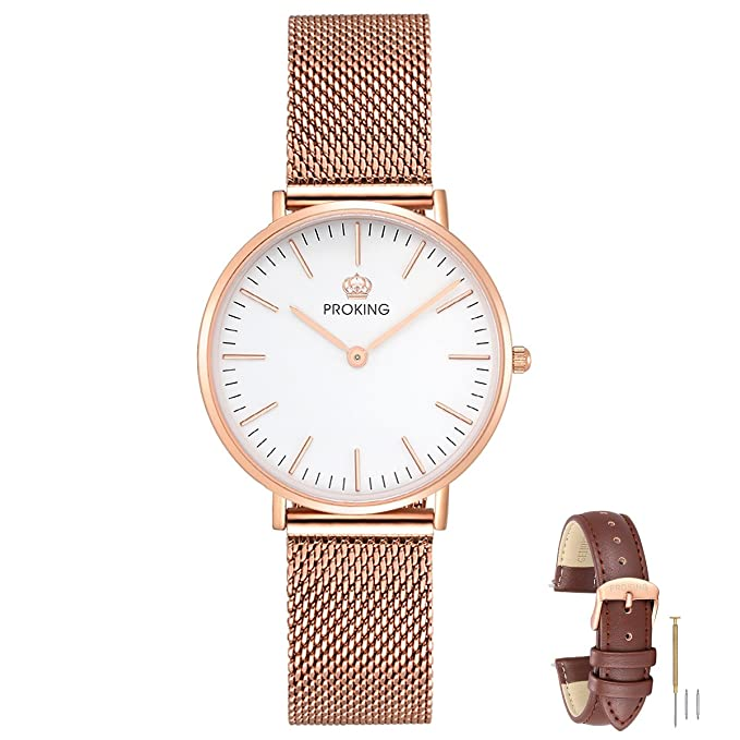 Amazon.com: Mens Watches,PROKING Waterproof Business Dress Rose Gold Stainless Steel Wrist Watch,6mm Ultra Thin Sapphire Crystal Casual Watches with Free ...