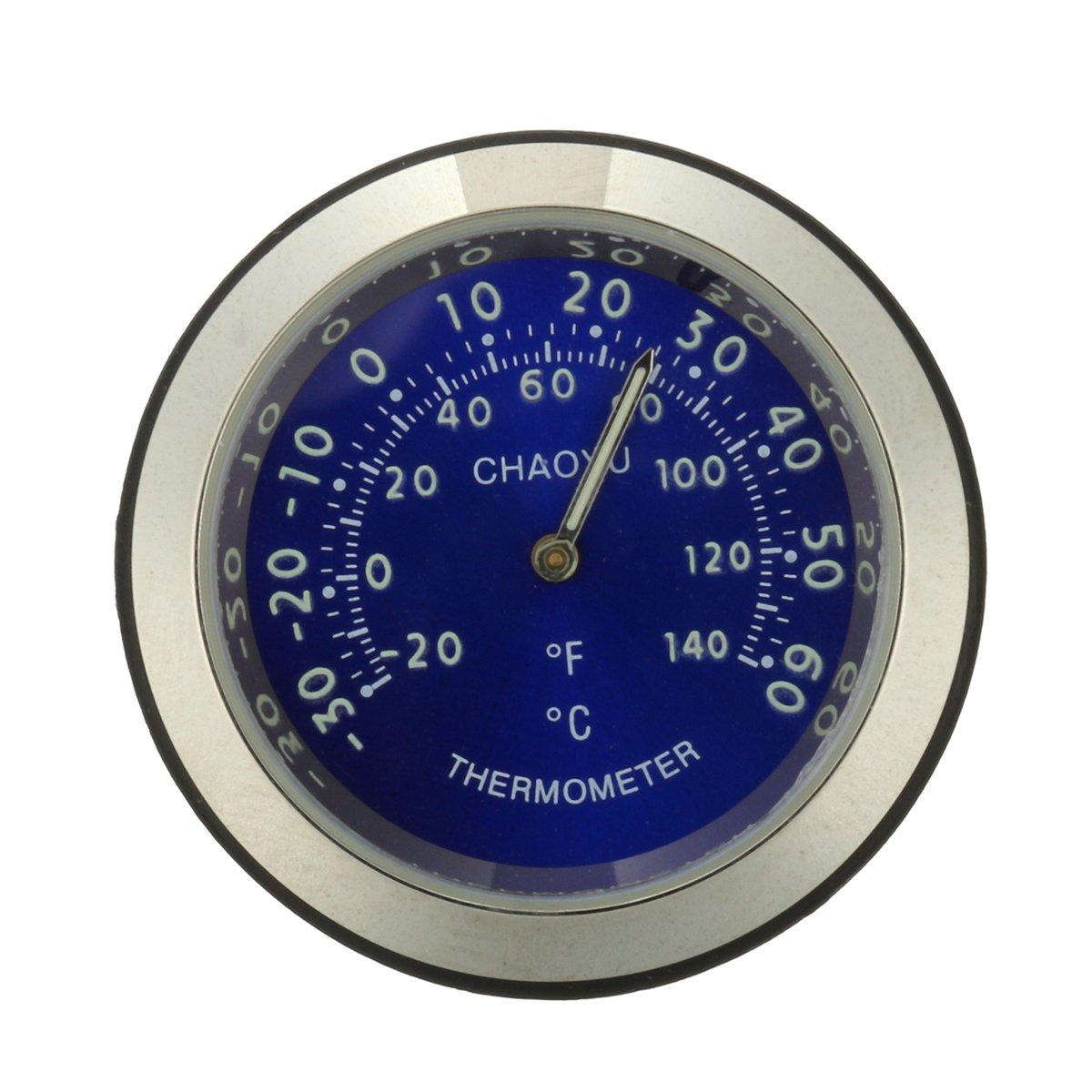 GOZAR Manillar de Motocicleta term/ómetro Dial Impermeable indicador de Temperatura
