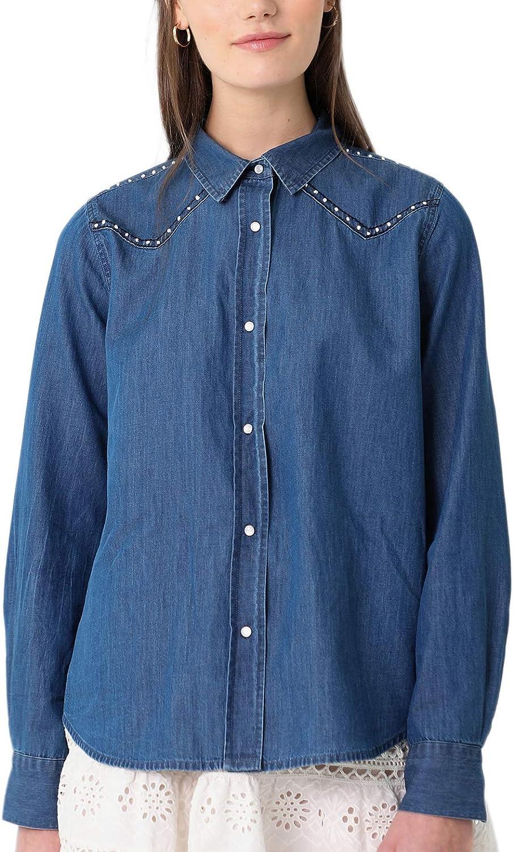 Scalpers Camisa Seda Bolsillos Camisa para Mujer, Talla S