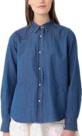 Scalpers Camisa Denim Bordado - Camisa para Mujer, Talla L, Color Indigo: Amazon.es: Ropa y accesorios