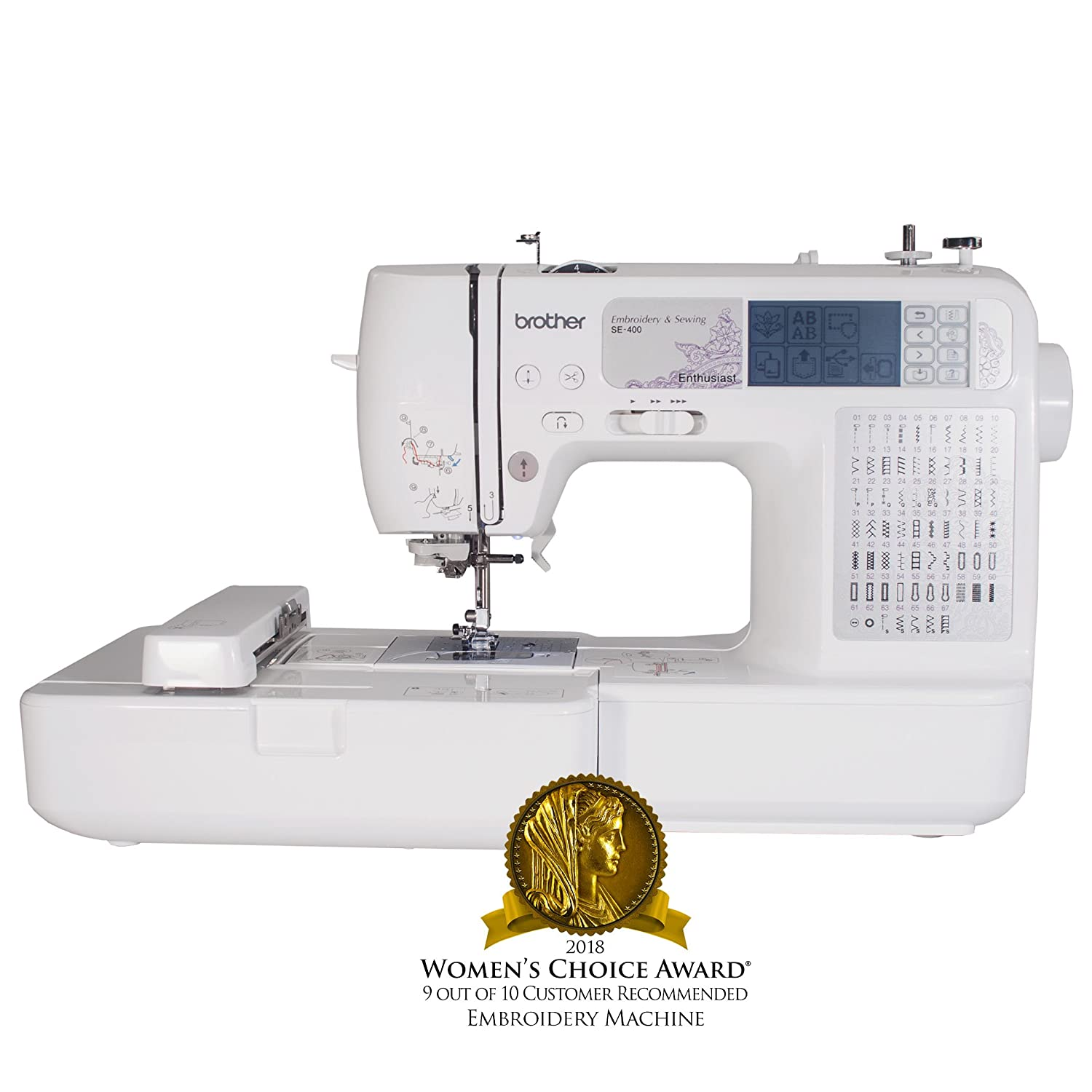 Amazon.com: Brother SE400 Combination Computerized Sewing and 4x4  Embroidery Machine With 67 Built-in Stitches, 70 Built-in Designs, 5  Lettering Fonts: Arts ...
