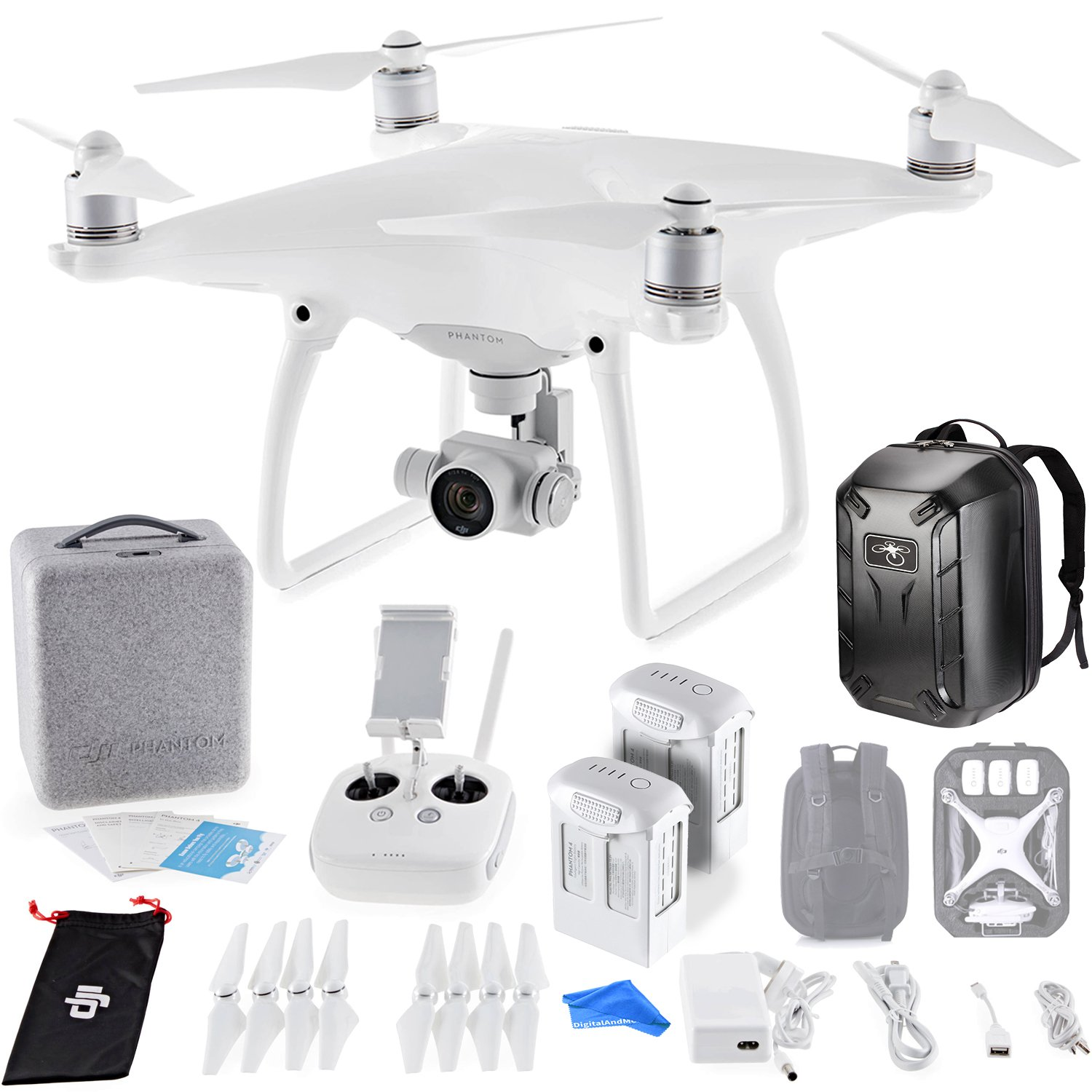 DJI Phantom 4 Quadcopter Drone w/ Hardshell Backpack + Spare...