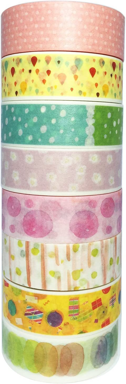 KODAMAA 8 Rolls Rolls Assorted Decorative Paper Washi Masking Tape, Perfect for Festival Scrapbooking, Journaling, Cards, DIY, Arts & Crafts (Colorful Dots(8 Rolls))
