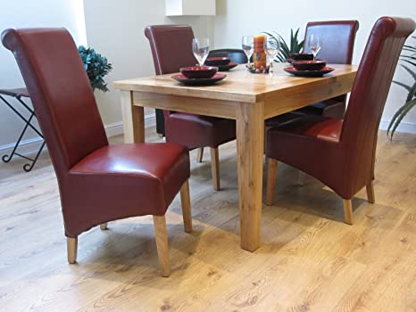 Superb Solid Oak Extending Dining Table And Six Kelsey Leather Dining Chairs With Oak Legs Dining Set With Red Chairs Caraccident5 Cool Chair Designs And Ideas Caraccident5Info