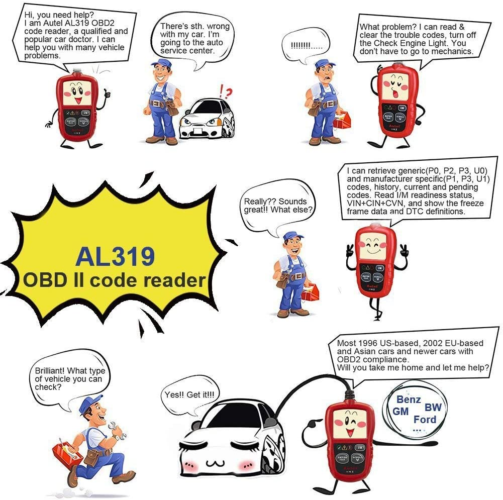 Code Readers & Scan Tools Autel Autolink AL319 OBD2 Scanner Code ...
