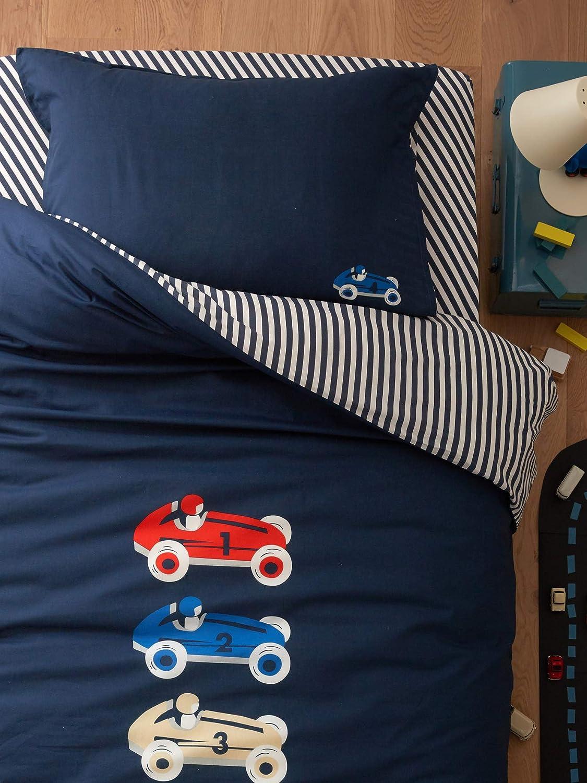 CYRILLUS - Funda de edredón de algodón, diseño de Bolitas, Bleu ...