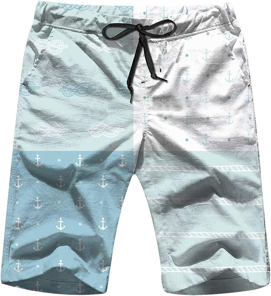 Mens Set Hand Drawn Anchors The Arts Swim Trunks Quick Dry Summer Underwear Surf Beach Shorts Elastic Waist with Pocket