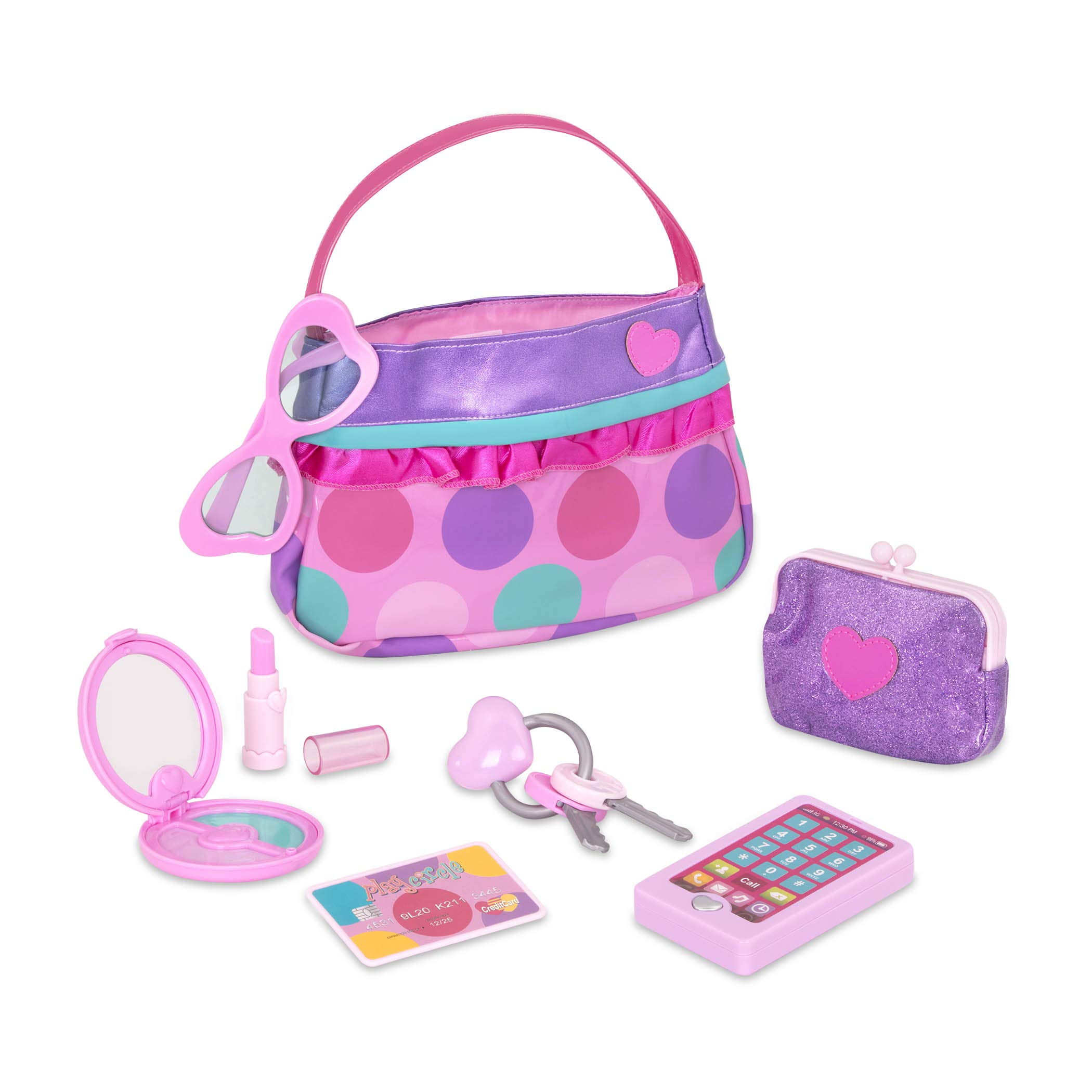 Play Circle by Battat - Princess Purse Set - 8-piece Kids Play Purse and Accessories - Pretend Play Purse Set Toy with Pretend Makeup For Kids Age 3 Years and Up by Play Circle by Battat