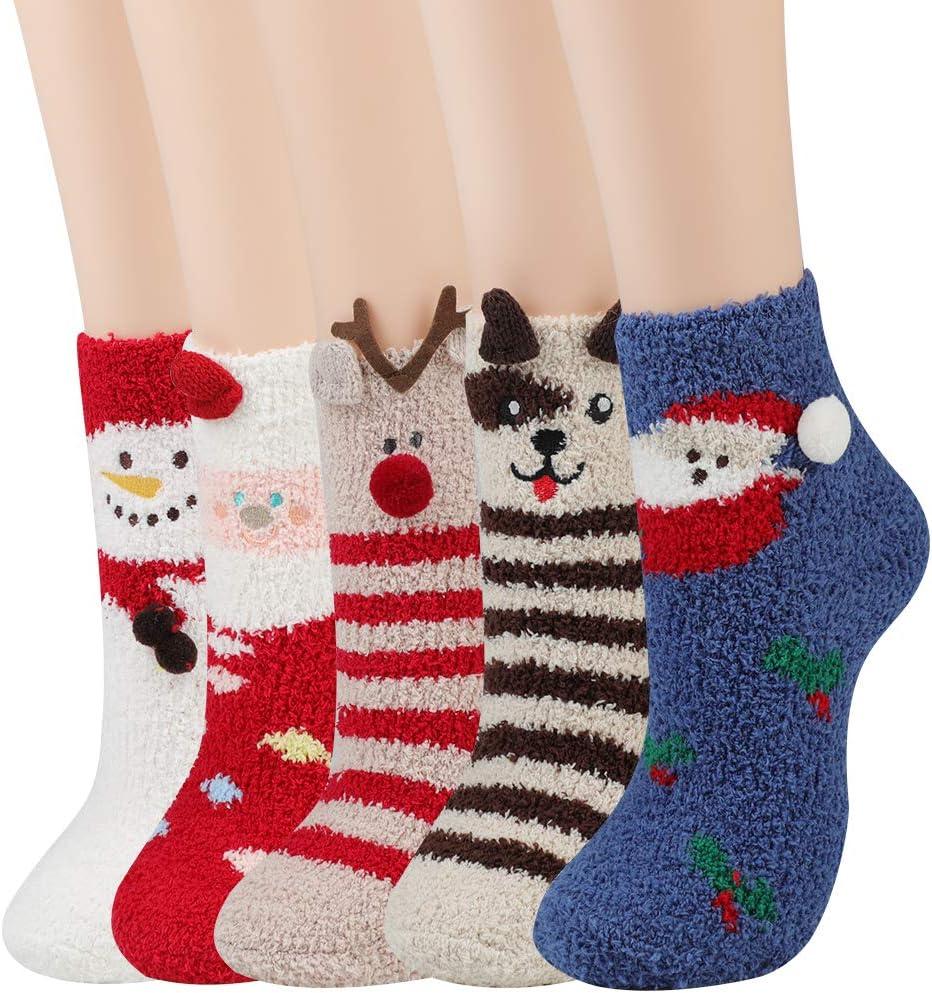 JUSTDOLIFE Calcetines de Navidad, Calientes de Piso Lindos de Navidad Calcetines, Suaves y Calcetines Calentitos de Invierno Calcetines Felpa Calcetines para Mujer 5 Pares