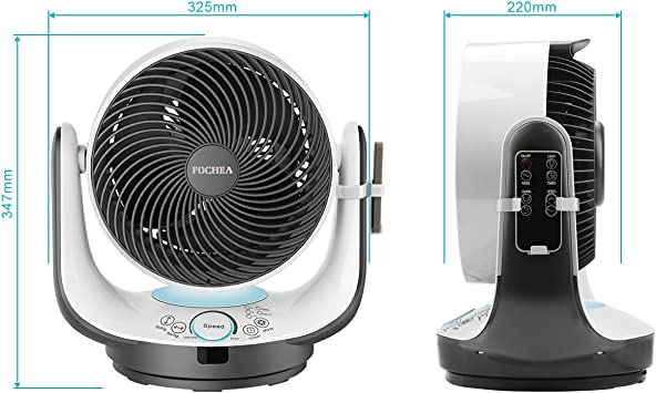 Fochea Ventilador de Mesa Potente Ventilador Turbo/Ventilador de Circulador Multifunción con Control Remoto, 3 Modo ...