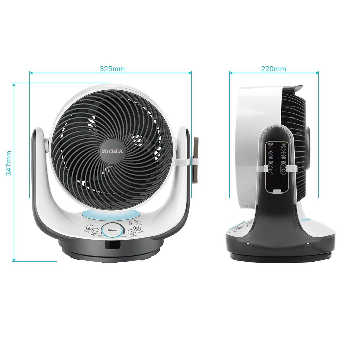 Fochea Ventilador de Mesa Potente Ventilador Turbo/Ventilador de Circulador Multifunción con Control Remoto, 3 Modo y 8 Velocidades Ajustables, Temporizador ...
