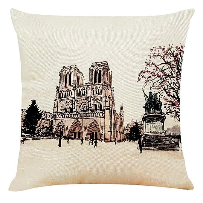 Xmansky Funda Cojin Almohada Bosquejo de Notre Dame y Arco ...